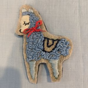 Handmade embroidered Llama brooch
